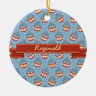 Patriotic Cupcake Pattern and Ribbon Christmas Tree Ornament
