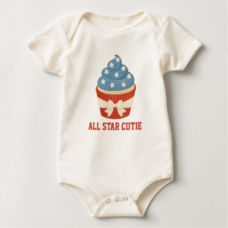 Patriotic Cupcake with Text Baby Bodysuit