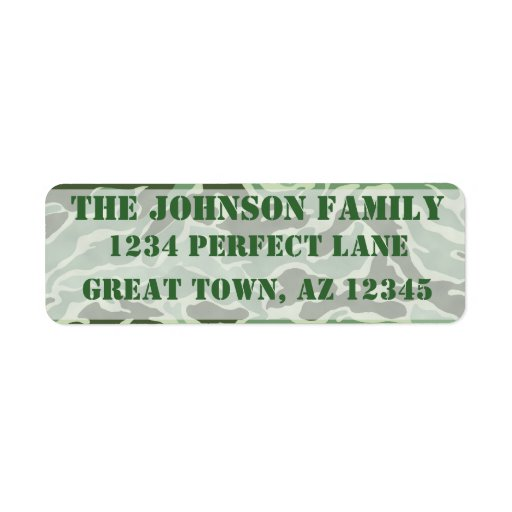 Patriotic Custom Green Army Camouflage Labels