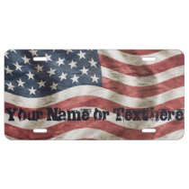 Patriotic Custom Vintage American Flag License Plate