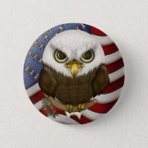 Patriotic Cute Bald Eagle And US Flag Pinback Button