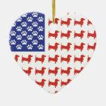 Patriotic Dachshund Doxie Christmas Tree Ornament