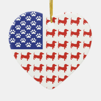 Patriotic Dachshund Doxie Double-Sided Heart Ceramic Christmas Ornament
