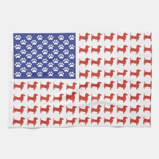 Patriotic Dachshund Doxie Kitchen Towels