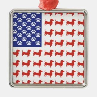 Patriotic Dachshund Doxie Metal Ornament