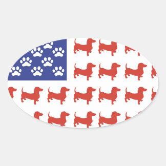Patriotic Dachshund Doxie Oval Sticker