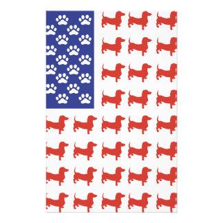 Patriotic Dachshund Doxie Personalized Stationery