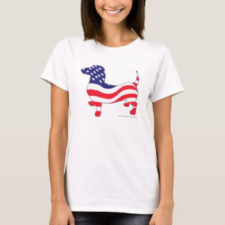 Patriotic Dachshund in red white and blue T-Shirt