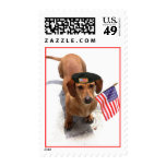 Patriotic dachshund postage stamps