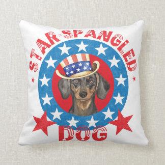 Patriotic Dachshund Throw Pillow