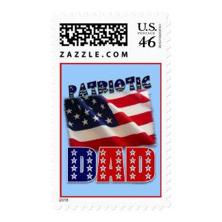 Patriotic Dad American Design Postage Stamp