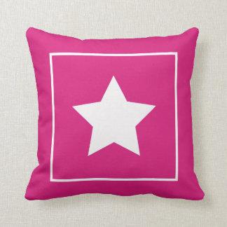 Patriotic Dark Pink & White Star Pillow