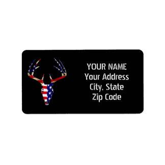 Patriotic Deer Hunting skull Address Label