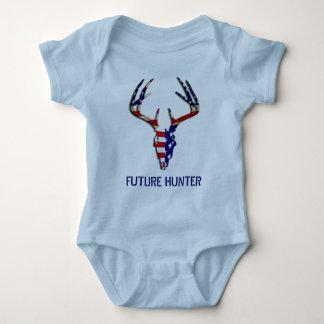 Patriotic Deer Hunting skull Baby Bodysuit