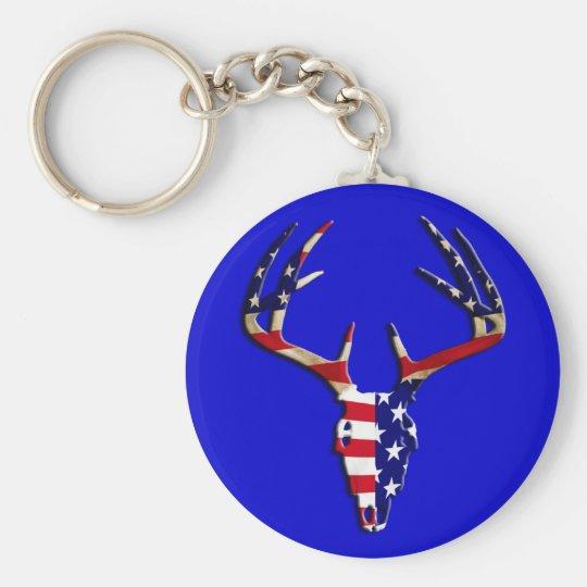 Patriotic Deer Hunting skull Keychain