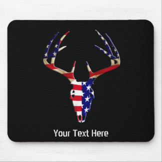 Patriotic Deer Hunting skull Mouse Pads