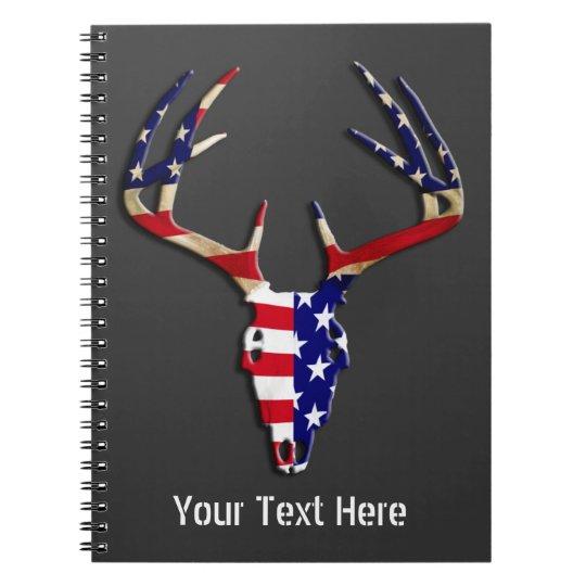 Patriotic Deer Hunting skull Notebook