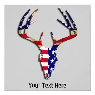 Patriotic Deer Hunting skull Photo Print