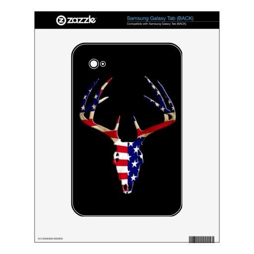 Patriotic Deer Hunting skull Samsung Galaxy Tab Skins