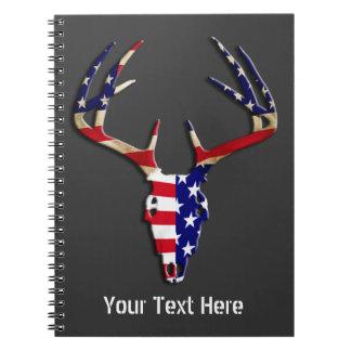 Patriotic Deer Hunting skull Spiral Notebooks