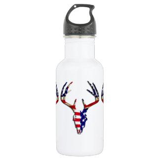 Patriotic Deer Skull 18oz Water Bottle