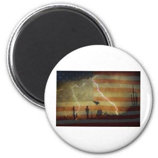Patriotic Desert Storm 2 Inch Round Magnet
