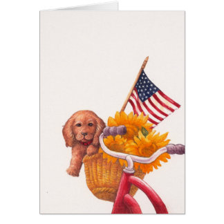 patriotic design with puppy-flag greeting card