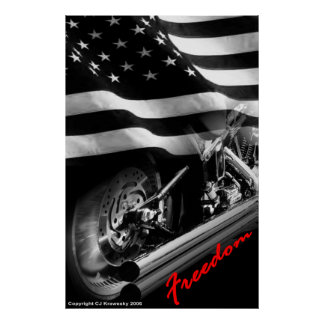 """Patriotic Designs - """"USA Freedom Motorcycle"""" Poster"""