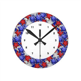 Patriotic Diamond Red White Blue Stars Wall Clock