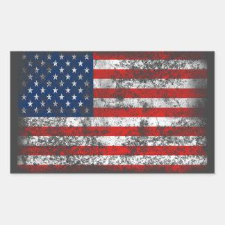 Patriotic Distressed American Flag Rectangular Sticker