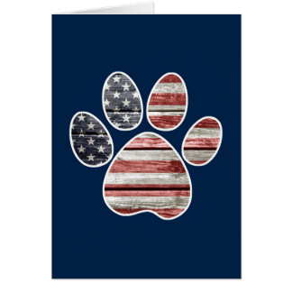 Patriotic Dog, American Flag Paw Print Card