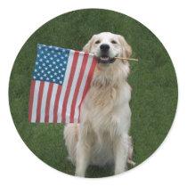 Patriotic Dog Classic Round Sticker