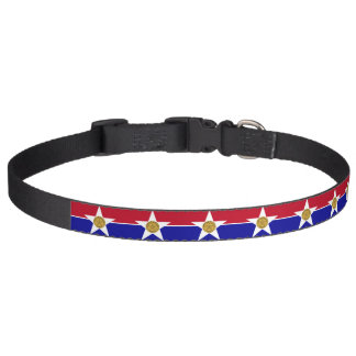 Patriotic dog collar with Flag of Dallas