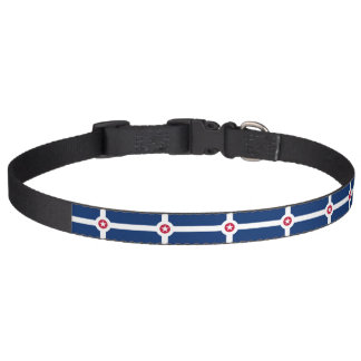 Patriotic dog collar with Flag of Indianapolis