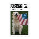 Patriotic Dog Postage Stamp