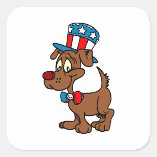 Patriotic Dog Square Sticker