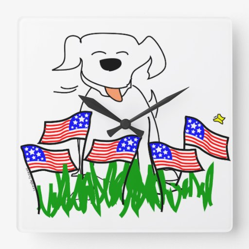 Patriotic Dog Wall Clock