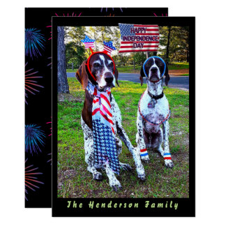 Patriotic Dogs & Fireworks Independence Day Card