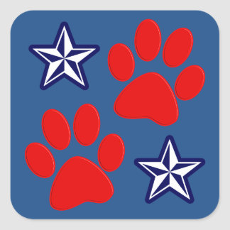 Patriotic Dogs in Service with Paws and Stars Square Sticker