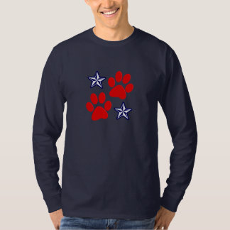 Patriotic Dogs in Service with Paws and Stars T-Shirt