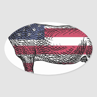 Patriotic Donkey Oval Sticker