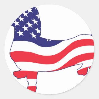 Patriotic Doxie Round Stickers