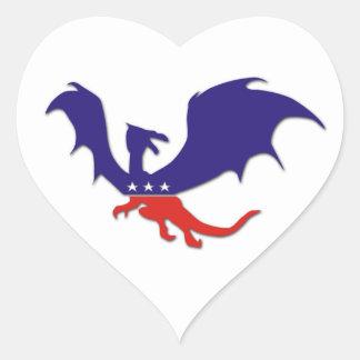 Patriotic Dragon Heart Stickers