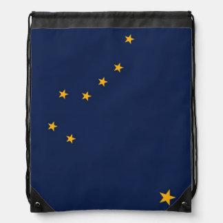 Patriotic drawstring backpack with Flag of Alaska