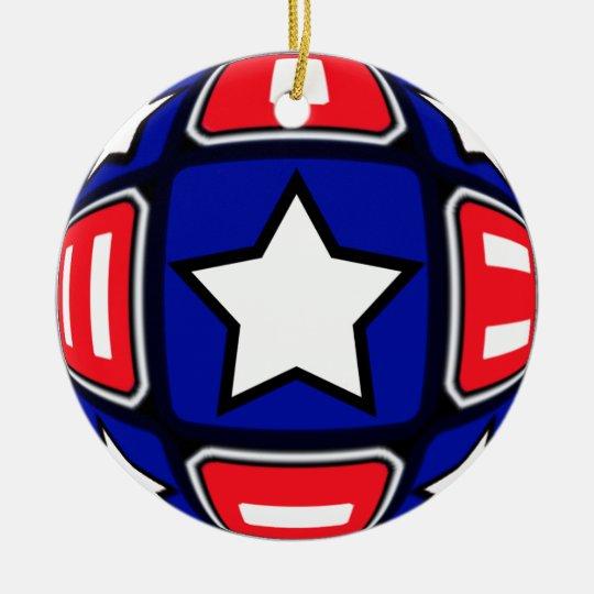 Patriotic Dreams Spiral & Stars Ceramic Ornament
