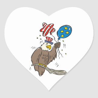 Patriotic Eagle (2) Heart Sticker