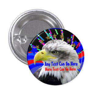 Patriotic Eagle And Gold Stars Round Button Pin
