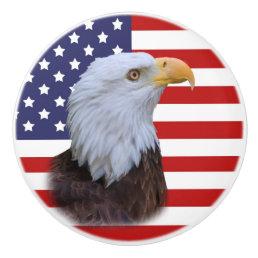 Patriotic  Eagle and USA Flag Ceramic Knob