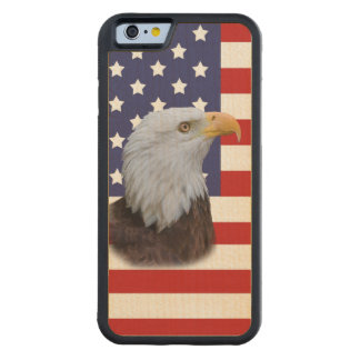 Patriotic  Eagle and USA Flag  Customizable Carved® Maple iPhone 6 Bumper Case