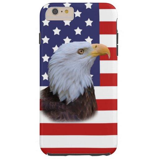 Patriotic  Eagle and USA Flag  Customizable Tough iPhone 6 Plus Case